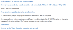 adobe renewal cancelation